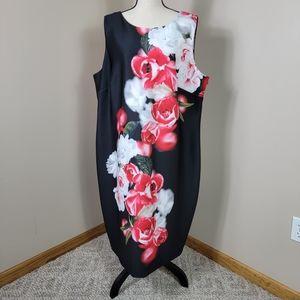 Calvin Klein Floral Sleeveless Scuba Dress Sz 22W